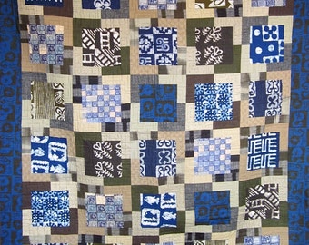 Patchwork Quilt - blue and olive Great African Frame Up