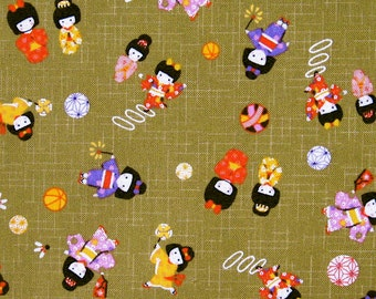 Japanese cotton prints - 1/2 yard of green Girls in Kimonos
