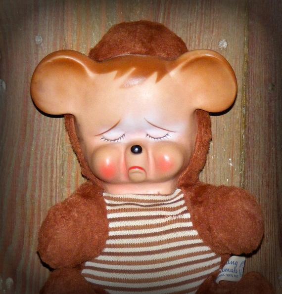 Vintage Knickerbocker Pouting Animals Sad Face Bear Rubber Face Plush