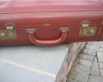 Vintage Large Stylite Suitcase Camel Brown Luggage