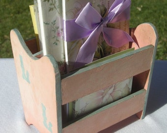 Vintage UP Cycled wooden toy magazine rack holder doll sized small organizer postcard display or notepad holder Distressed Shabby Fa