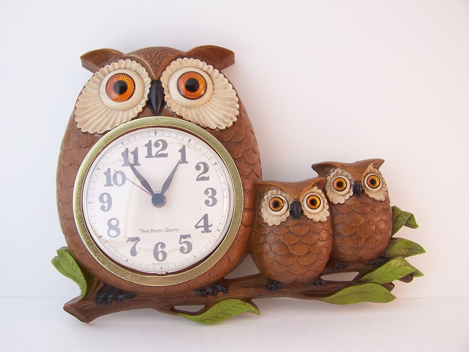 vintage 1972 owl clock owls three owls owl clock made in usa