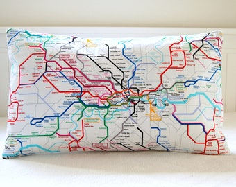 London underground decorative pillow cover, tube map cushion cover 12 x 20 inch