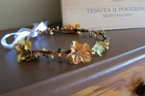 Fall berry woodland hair wreath