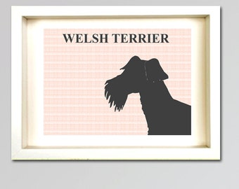 Welsh Terrier Art - Fine art print, welsh terrier dog , gray silhouette