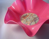 "Pink Record Bowl / Colored Record Bowl / Housewarming Gift / Rainbow / 12"" Pink Vinyl Record Bowl / Candy Dish / Catch All"
