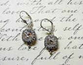 Vintage Sterling Silver Tiara Crown like bezel Swarovski Crystal Earrings - Wedding
