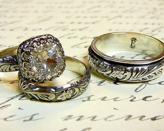 Anastasia Ring Set - Vintage Sterling Silver Swarovski Crystal Husband & Wife Wedding Set