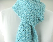Aqua Tweed Thick Knit Scarf - Hand Knit Angora Cashmere Scarf from Reclaimed Yarn
