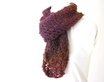 Hand Knit Plum to Burgundy Ombre Lace Scarf