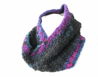 Black Cowl Scarf - Hand Crocheted Infinity Scarf with Jewel Tone Edges