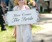 Here Comes The Bride Wedding signs decorations DOUBLE SIDED Flower Girl Ring Bearer 10x24