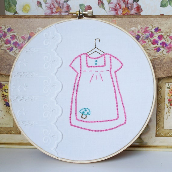 Hoop Art Hand Embroidery Repurposed Cotton Pink Dress Baby Girl Room Decor Baby Shower Gift