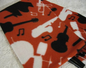 Five Buck Fleece Scarf Blow Out  * Last One - Orchestra Silhouette Winter Fleece Scarf Band Piano Sax Trumpet Drums Guitar