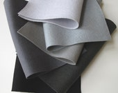 Black and Grey Felt, 100% Wool Felt, Six Sheet Set, Felt Fabric, Grey Ombre, Black, Smoke,  Silver, Slate, Charcoal