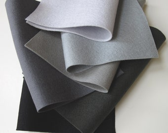 Black Wool, Grey Wool Felt, 100% Merino, Felt Set, Six Sheets, Nonwoven Fabric, Grey Ombre, Black, Smoke,  Silver, Slate, Charcoal, Applique