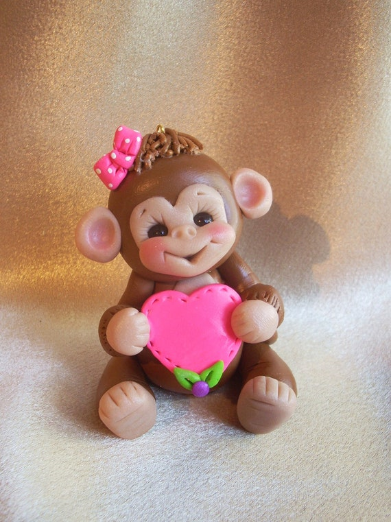monkey Christmas ornament cake topper animal shower gift personalized polymer clay gift