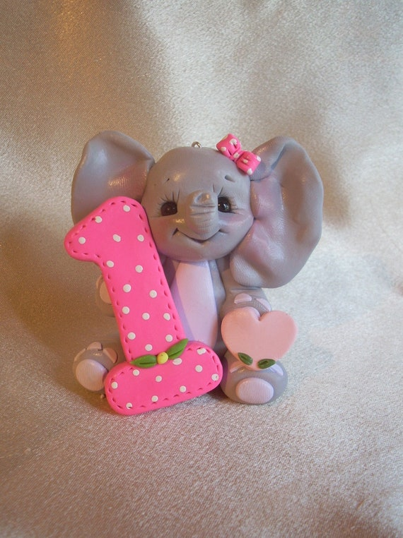elephant birthday cake topper Christmas ornament polymer clay animal decoration 1 1st first