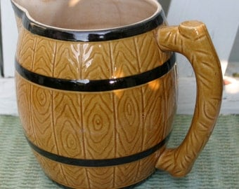 Vintage Stoneware Barrel Pitcher Hand Painted