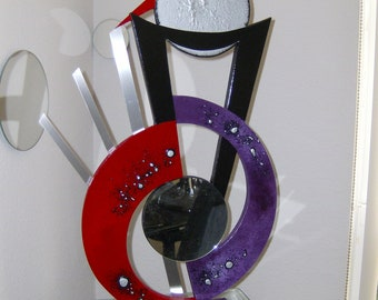 "Purple and Red Abstract Art Wood Metal & Mirror Modern Table Top Sculpture ""Sadie"""