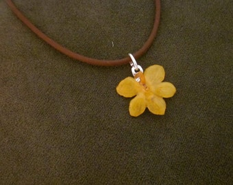 Miniature Vanda Orchid Necklace - REAL flower - sunshiney yellow on brown cord - tiny ooak garden gift friend girlfriend teen tween girl