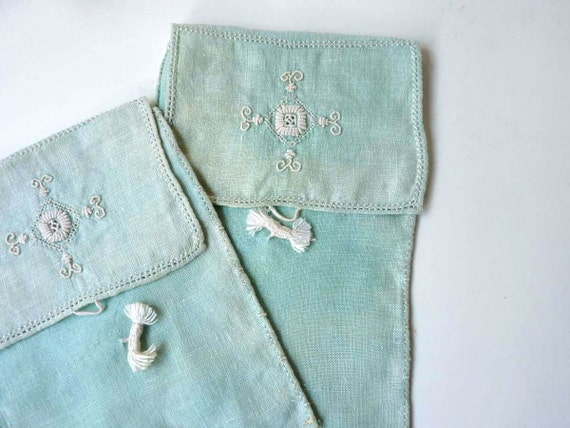 Embroidered pouches, linen lingerie bags