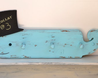 Blue Whale Coat Rack with Mini Top Hat Chalkboard