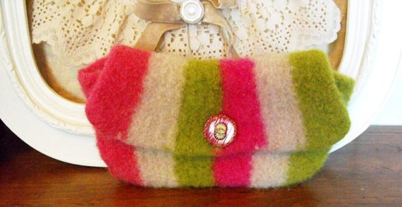 Womens Girls Wallet Pink  Hand Knit Felted Clutch On Sale