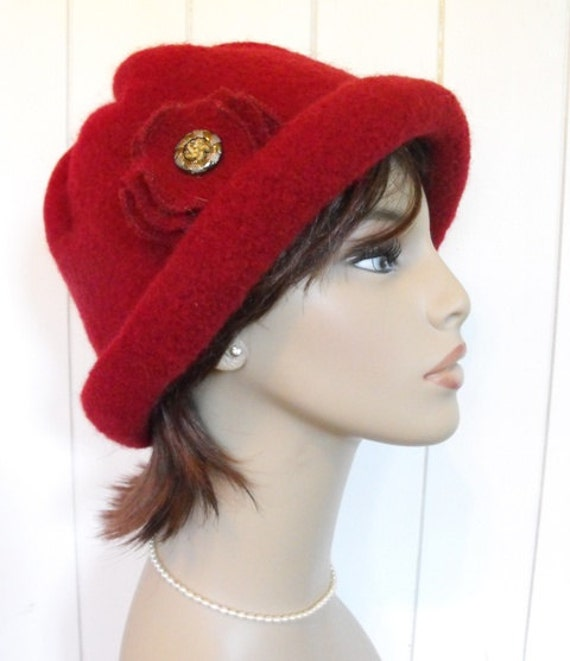 Cloche Wool Felted Red Womens Warm Winter Hat