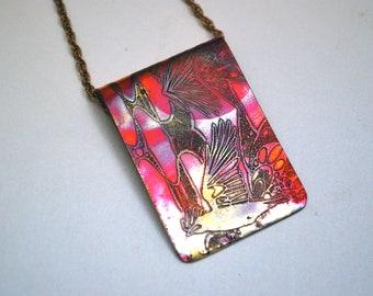Copper Rook pendant - heat coloured crow necklace