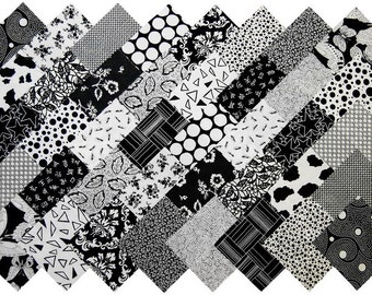 "40 4"" Fabric Squares BLACK and WHITE 20 Patterns Quilting"