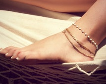 BETSY ANKLET- triple chain anklet / foot chain / bohemian jewelry / body jewelry / anklets / vintage / boho chic