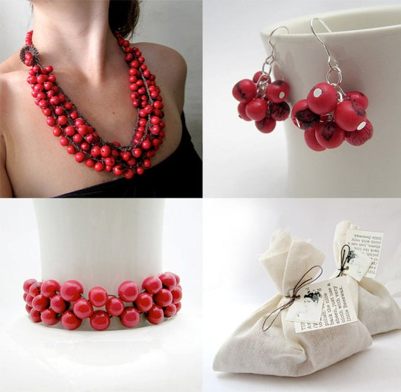 Set of red acai jewelry: Red Cluster earrings, red multistrand bead necklace and red beaded bracelet
