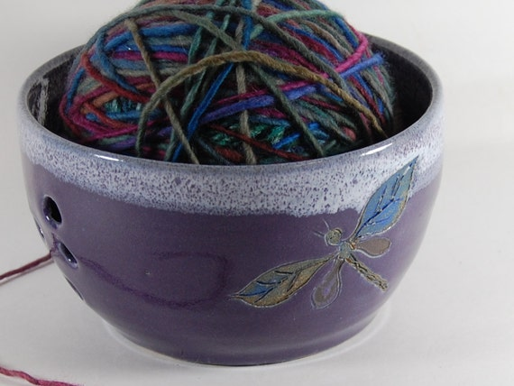 Mini Yarn Bowl, Knitting, Crochet, Dragonfly Purple And White Pottery