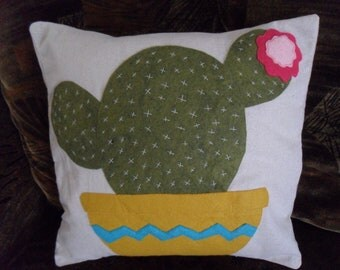 Cactus in a pot Bloom Felt Applique Pillow Cover 16 x 16 inches Modern Retro Geek
