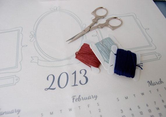 2013 Calendar, DIY Fabric Calendar for embroidery