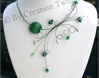 dark green forest, white, necklace, bridesmaids necklace,  swirl necklace, funky jewelry, wedding necklace, bridesmaids gift