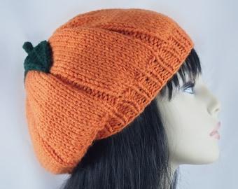 Halloween Hand Knit Beret Pumpkin