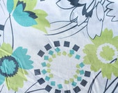 """Blue and Lime Green Floral 100% Cotton Lawn 58"""" Wide Sold by the Yard"""