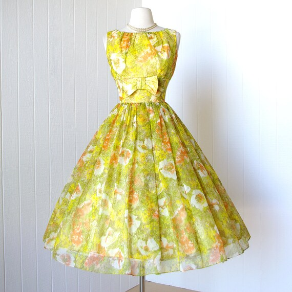 vintage 1950's dress ...never worn yellow FLORAL CHIFFON garden party full skirt pin-up cocktail dress
