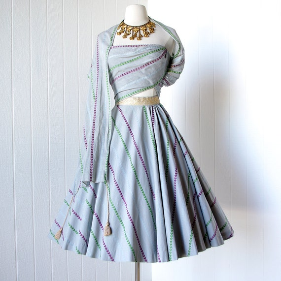 vintage 1940's dress ...most amazing rare early designer TINA LESER asymmetrical cotton full circle skirt pin-up dress with shawl