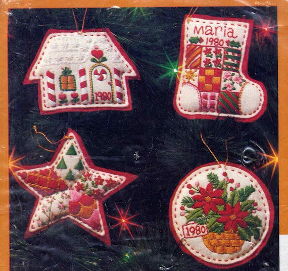 Vintage Embroidered Felt Christmas Ornaments Craft Sewing Kit--4 Bright Colorful Designs by Creative Circle