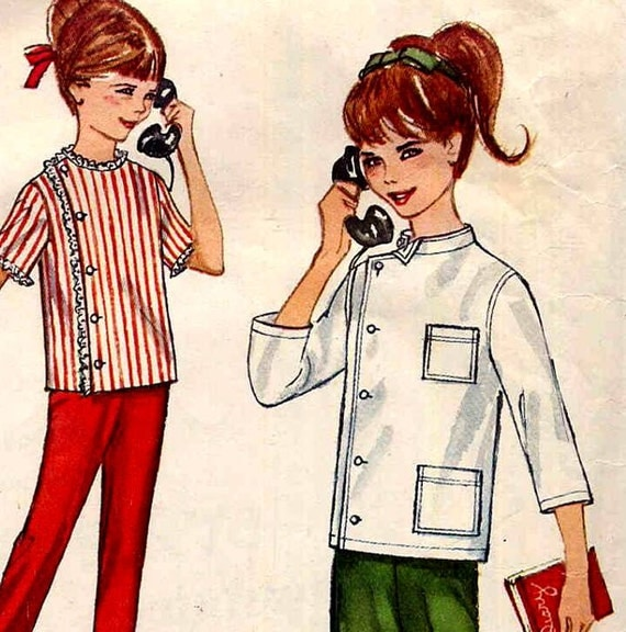 Vintage Girls Intern Shirt Doctor Costume Sewing Pattern Simplicity 4720 1960s Tapered Pants Size 8