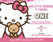 Hello Kitty Custom Birthday Invitation - PRINTABLE PDF FILE