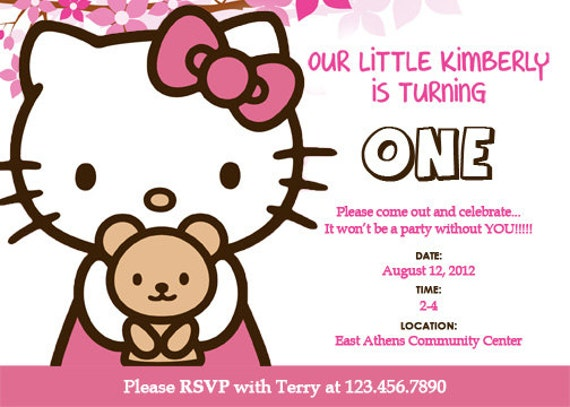 Hello Kitty Custom Birthday Invitation PRINTABLE PDF FILE