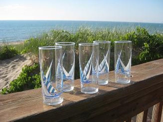 Vintage Nautical Glasses Set of Five