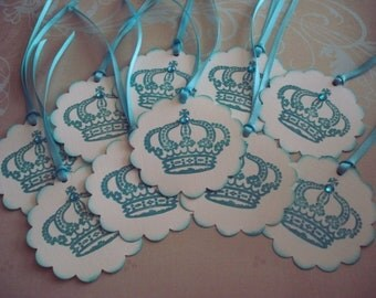 Crown Tags, Hand stamped, vintage style, Teal Scallops  bridal or baby shower  princess tags  Shabby Chic  Color customizable  - Set of 10