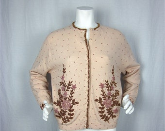 Vintage 60s Cream Wool Sweater, Hand Beaded in Hong Kong, Sz L