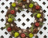 Wreath - Fall Wreath - Autumn Wreath - Fruit Wreath - Grapevine Wreath - Door Wreath - Fall Door Wreath - Autumn Door Wreath - Thanksgiving