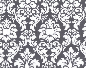 Dandy Damask in charcoal grey and white from Michael Miller, 1 yard
